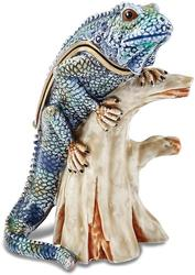 Bejeweled Iguana on Branch Trinket Box