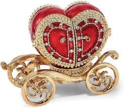 Bejeweled Heart Carriage Ring Holder Trinket Box