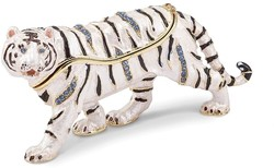 Bejeweled White Tiger Trinket Box