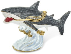 Bejeweled Great White Shark Trinket Box