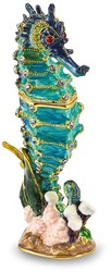 Bejeweled Crystal Enameled Blue Seahorse Trinket Box