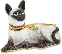 Bejeweled Crystal Enameled Siamese Cat Trinket Box