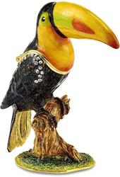 Bejeweled Crystal Enameled Majestic Toucan Trinket Box