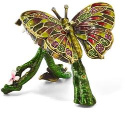 Bejeweled Crystal Enameled Butterfly & Pink Orchid Trinket Box
