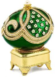 Bejeweled Crystal Enameled Green Simulated Pearl Musical Egg
