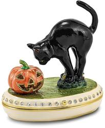 Bejeweled Crystal Enameled Black Cat & Pumpkin Trinket Box