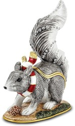 Bejeweled Crystal Enameled Winter Squirrel Trinket Box