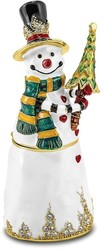 Bejeweled Crystal Enameled Friendly Snowman w/ Tree Trinket Box