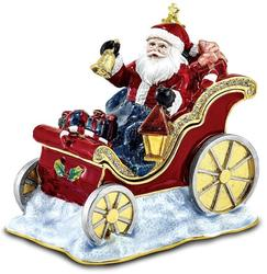 Bejeweled Crystal Enameled Santa in Sleigh Trinket Box