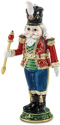 Bejeweled Crystal Enameled Toy Soldier Trinket Box