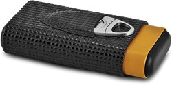 Black / Tan Polyurethane 3-Cigar Travel Case w/ Cutter