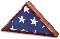 Cherry Matte Finish Poplar Veneer Glass Top Flag Collectors Box