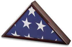 Mahogany Matte Finish Poplar Veneer Glass Top Flag Collectors Box