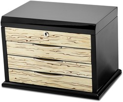 Black Oak Veneer w/ Iced Maple Veneer Front Jewelry Chest