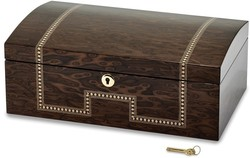Brown Veneer w/ Inlay Locking Jewelry Chest