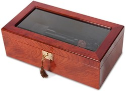 Rosewood Veneer High Gloss Finish Glass Window Multi Use Collector Box