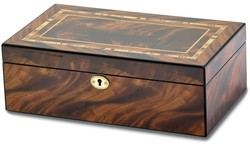Tiger Wood Veneer High Gloss Finish Multi Use Locking Collector Box