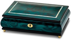 Walnut Burl Veneer w/ Mother of Pearl Inlay Music Jewelry Box Plays Waltz of the Flower