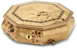 Walnut Burl Veneer w/ Inlay Locking Octagonal Music Jewelry Box Plays Fur Elise