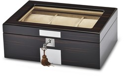 High Gloss Ebony Veneer Watch & Jewelry Box w/ Lift-out Tray
