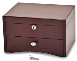Matte Mahogany Finish Poplar Veneer 1-Drawer Jewelry Chest