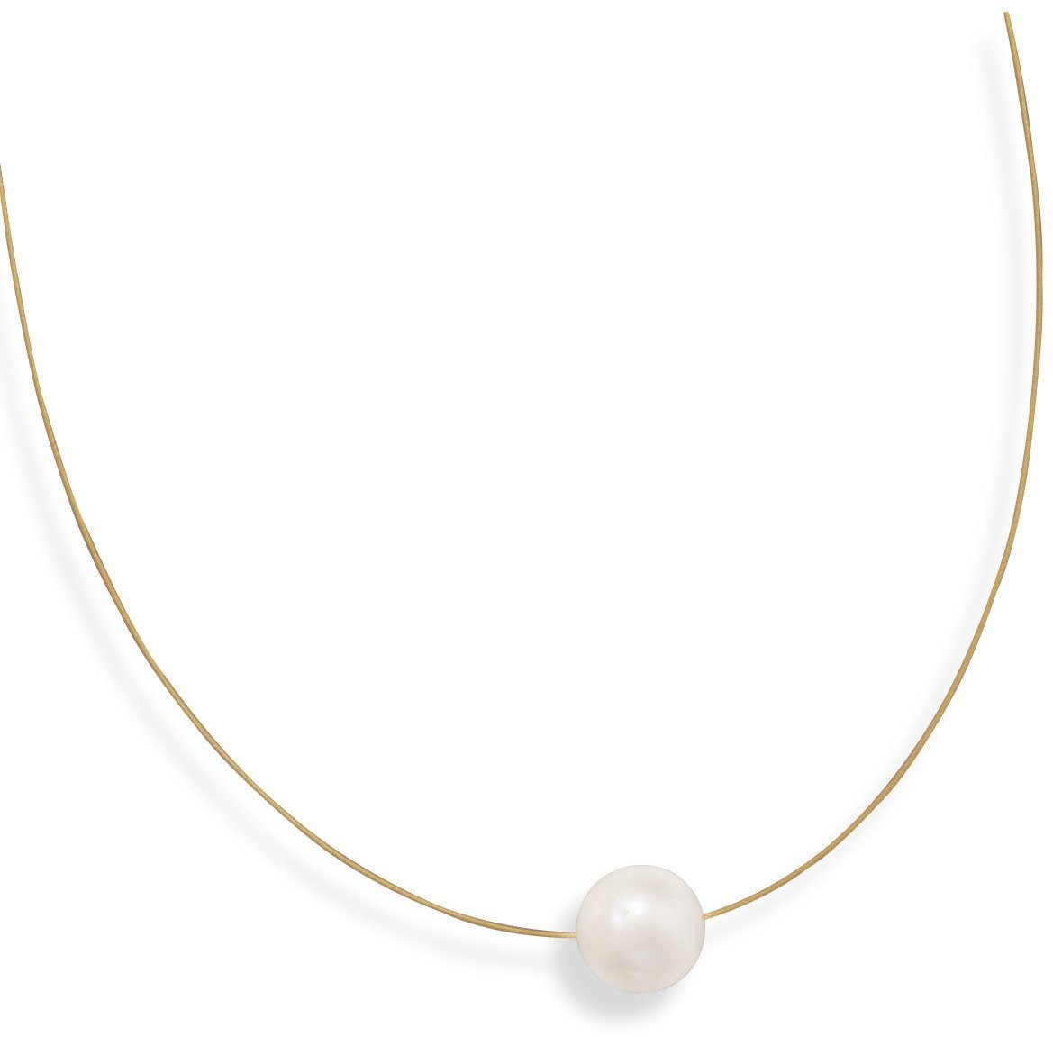 "16"" 24 Karat Gold Plated Necklace with Cultured Freshwater Pearl 925 Sterling Silver"