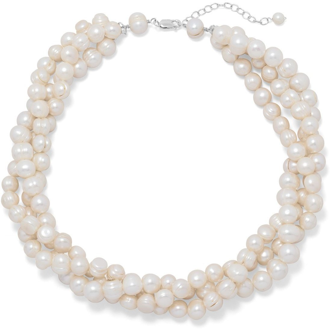 "18""+2"" Multistrand Cultured Freshwater Pearl Necklace 925 Sterling Silver"