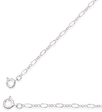"16"" 2mm (0.08"") Large and Small Alternating Link Chain 925 Sterling Silver"