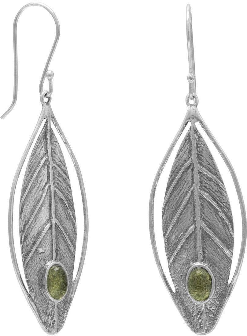 Leaf Design Earrings with Peridot 925 Sterling Silver