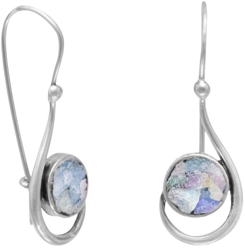 Hook Shape Earrings with Roman Glass 925 Sterling Silver
