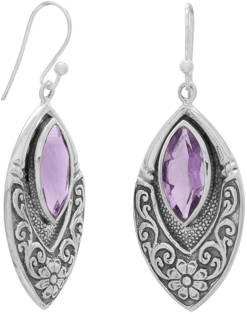Oxidized Marquise Earrings with Amethyst 925 Sterling Silver