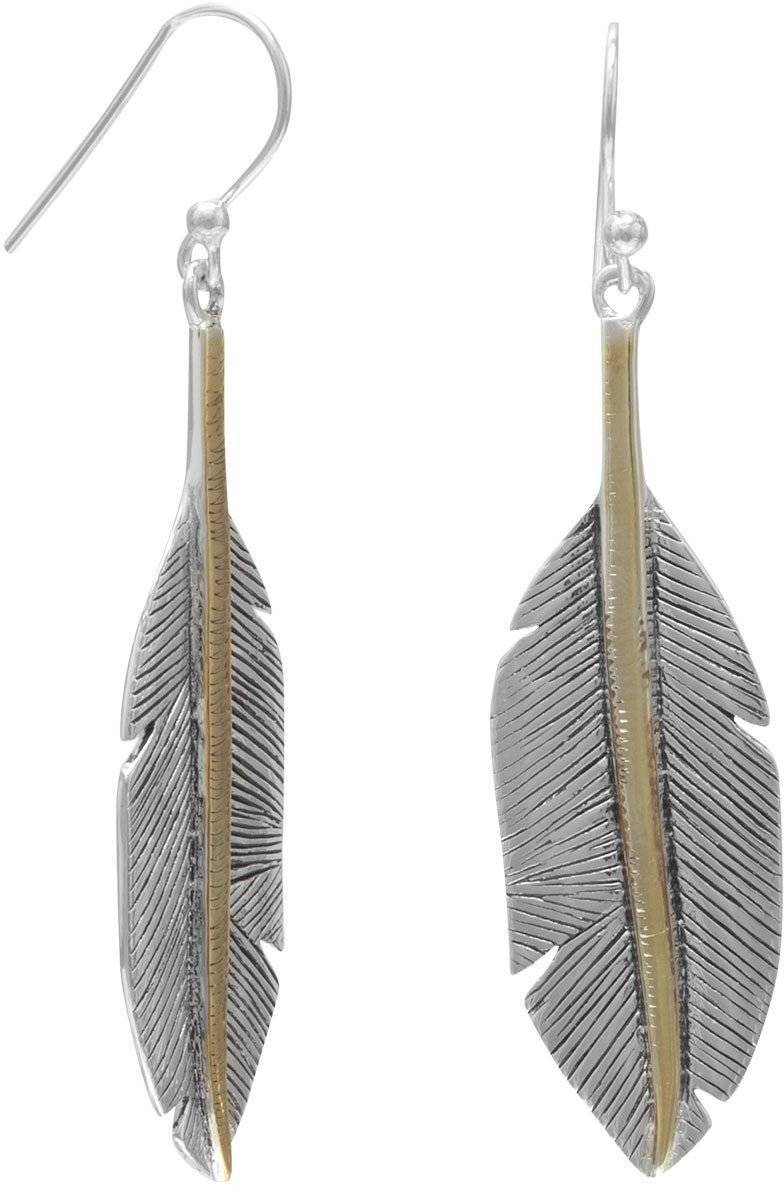 Two Tone Feather Earrings 925 Sterling Silver