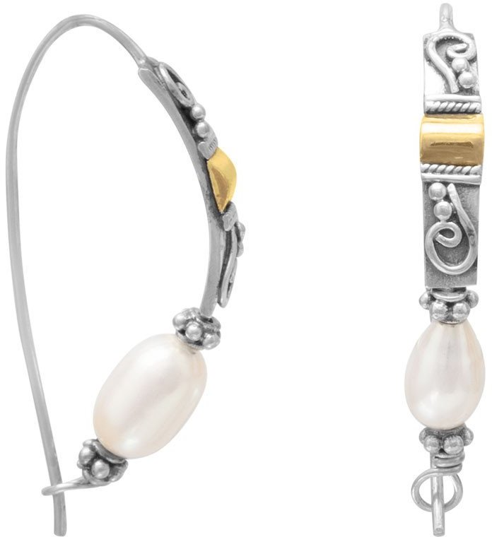 Two Tone Cultured Freshwater Pearl Earrings 925 Sterling Silver