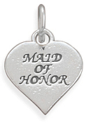 Oxidized Maid of Honor Charm 925 Sterling Silver