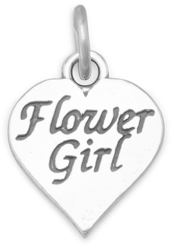 Oxidized Flower Girl Charm 925 Sterling Silver