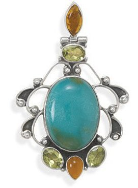 Turquoise with Multistone Ornate Slide 925 Sterling Silver - LIMITED STOCK
