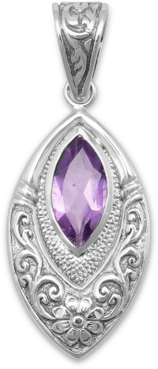 Oxidized Marquise Pendant with Amethyst 925 Sterling Silver