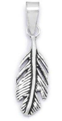 Oxidized Feather Pendant 925 Sterling Silver