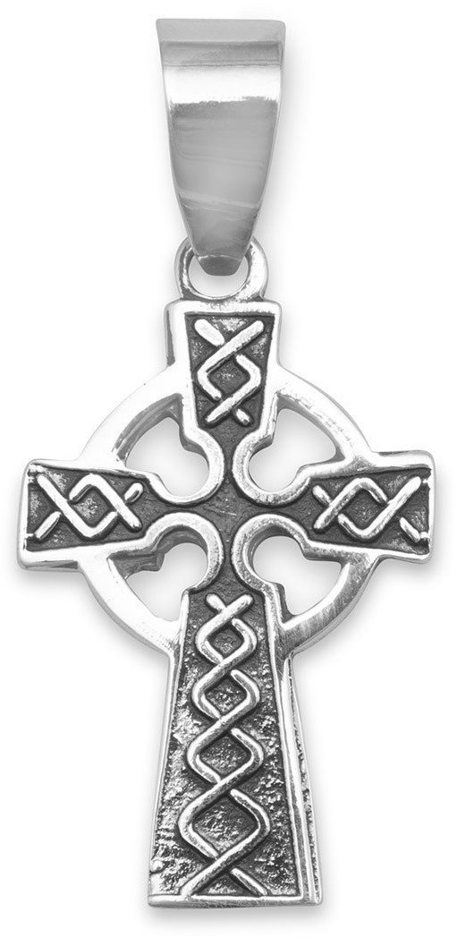 Oxidized Celtic Cross Pendant 925 Sterling Silver