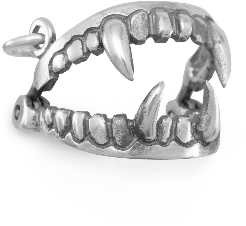 Oxidized Fangs Charm 925 Sterling Silver