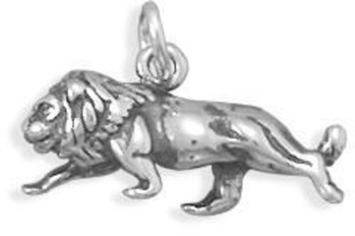 Oxidized Lion Charm 925 Sterling Silver
