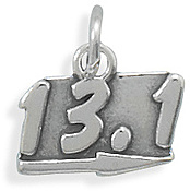 Oxidized 13.1 Charm 925 Sterling Silver