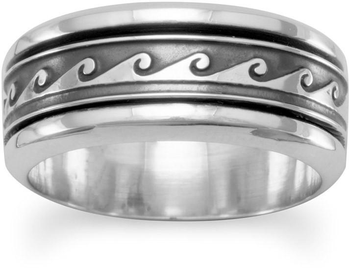 Oxidized Spin Ring with Wave Design 925 Sterling Silver