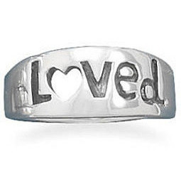 "Oxidized ""Loved"" Ring 925 Sterling Silver - CLEARANCE"