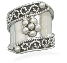 Flower Bead Design Ring 925 Sterling Silver