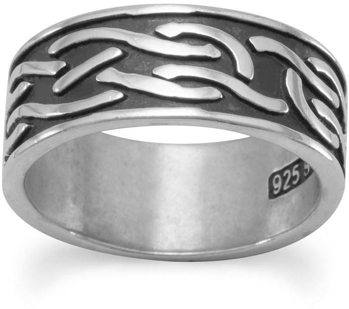 Oxidized Knot Design Band 925 Sterling Silver