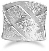 Wide Ring with X Design Ring 925 Sterling Silver - LIMITED STOCK