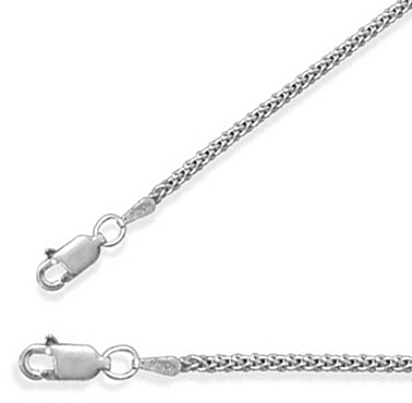 "16"" 1.8mm (0.07"") Oxidized French Wheat Chain 925 Sterling Silver"