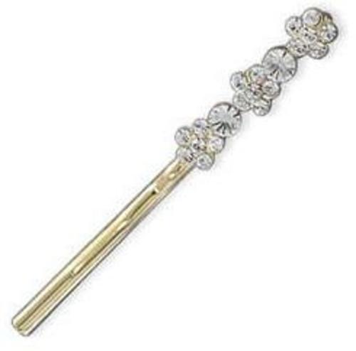 14 Karat Gold Plated Fashion Bobby Pin with Crystal Flowers