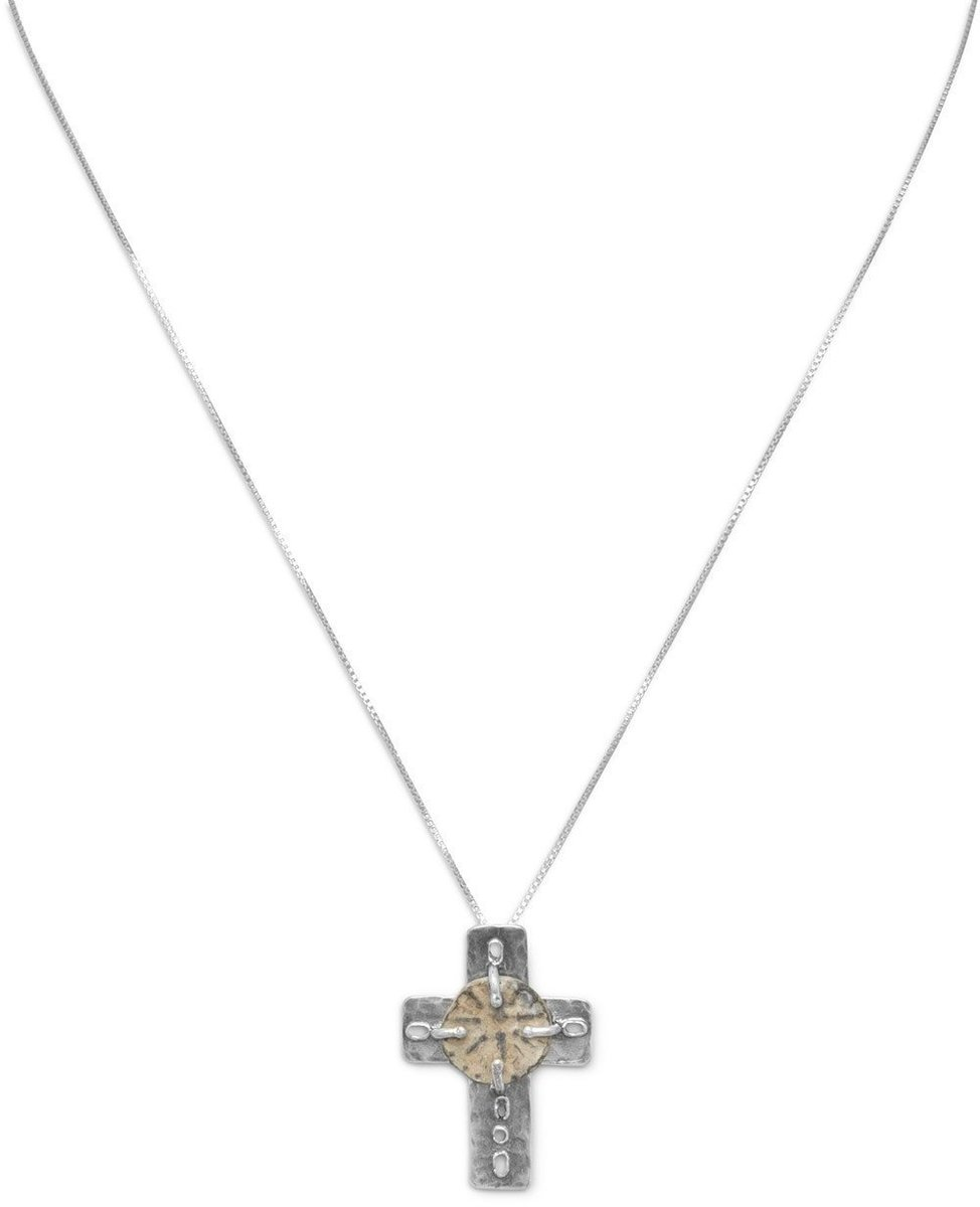 "16.5"" Cross and Ancient Coin Necklace 925 Sterling Silver"